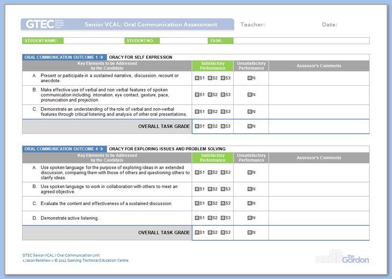 Senior VCAL Oral Communication Assessment